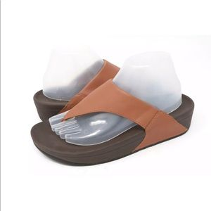a03e951319f8a Fitflop LULU Brown Leather Thong Sandal 288-113